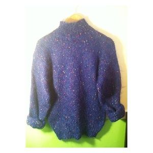 Fuzzy Blue/Multicolored Vintage Turtleneck Sweater